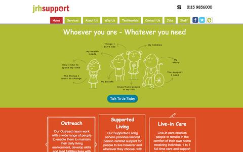 Screenshot of Home Page jrhsupport.co.uk - JRH Support - Outreach and Supported Living Services - captured July 22, 2016