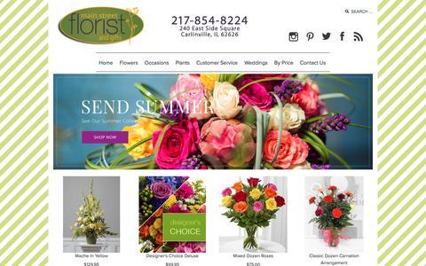 Screenshot of Home Page main-street-florist.com - Main Street Florist Carlinville, IL 62626 - captured July 25, 2018
