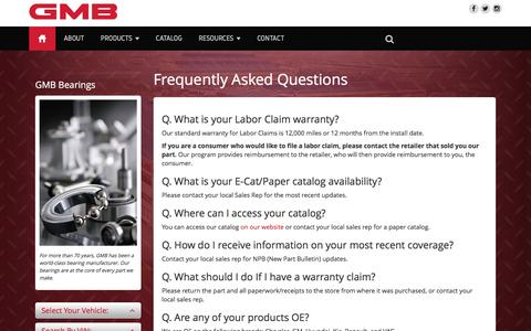 Screenshot of FAQ Page gmb.net - Frequently Asked Questions - GMB North America - captured Oct. 16, 2016
