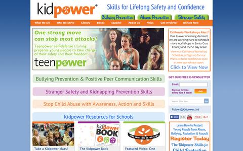 Screenshot of Home Page kidpower.org - Kidpower Personal Safety: Prevent Violence, Bullying & Abuse - captured Oct. 2, 2015