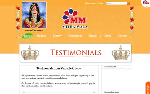 Screenshot of Testimonials Page mmmithaiwala.com - MM Mithaiwala - captured Oct. 3, 2014