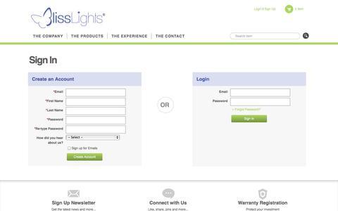 Screenshot of Signup Page Login Page blisslights.com - Login | BlissLights - captured Oct. 23, 2014
