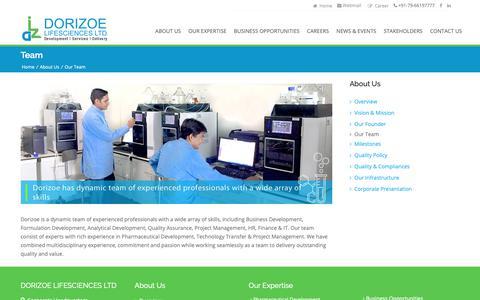 Screenshot of Team Page dorizoe.com - Dorizoe Lifesciences - captured Nov. 14, 2018