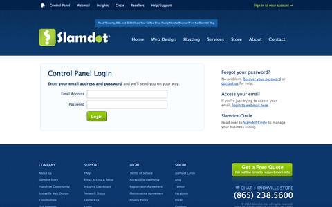 Screenshot of Login Page slamdot.com - Log in to your account — Slamdot - captured Sept. 19, 2014
