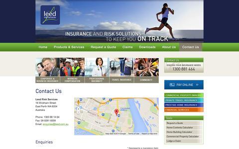 Screenshot of Contact Page leed.com.au - Contact Us - captured Oct. 2, 2014