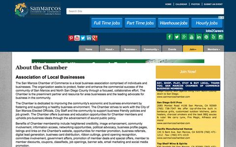 Screenshot of About Page sanmarcoschamber.com - About Us - San Marcos Chamber of Commerce, CA - captured Nov. 18, 2016