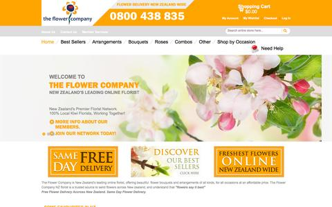 Screenshot of Home Page theflowercompany.co.nz - Flowers Delivered to New Zealand Same Day Free Delivery - captured Oct. 9, 2015