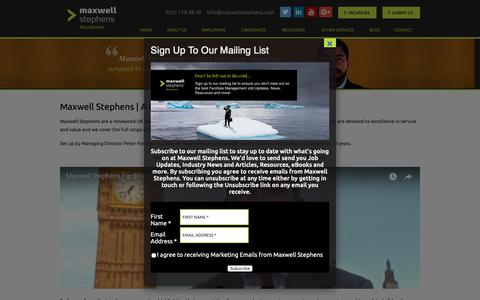 Screenshot of About Page maxwellstephens.com - Facilities Recruitment Specialists - Maxwell Stephens - captured Oct. 17, 2018