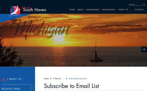 Screenshot of Signup Page south-haven.com - Viewers can now sign up to receive information from the City of South Haven as soon as it is posted to our site - captured Sept. 28, 2018