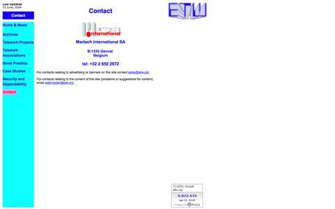 Screenshot of Contact Page etw.org - ETW2003 contact - captured June 13, 2016