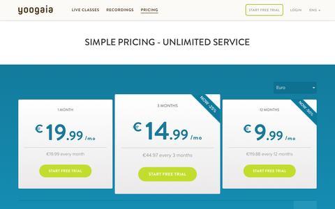 Screenshot of Pricing Page yoogaia.com - Pricing - captured Nov. 14, 2015