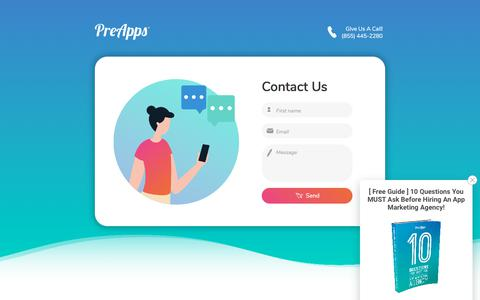 Screenshot of Contact Page preapps.com - PreApps - iPhone, iPad, Android, Mac, Windows Apps | Contact US - captured Dec. 7, 2019