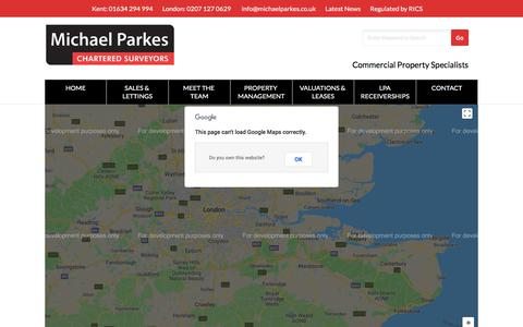 Screenshot of Maps & Directions Page michaelparkes.co.uk - Map of Commercial Property Available in London & Kent - captured Sept. 20, 2018