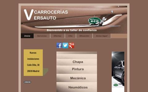 Screenshot of Home Page versauto.es - Taller chapa y pintura en Tetuán, Madrid - captured Sept. 23, 2014