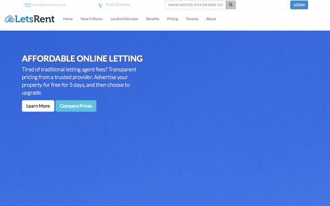 Screenshot of Pricing Page lets-rent.co.uk - Letting Agent Fees – Free Property Advertising – Lets Rent - captured Sept. 29, 2014