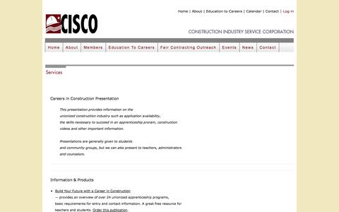 Screenshot of Services Page cisco.org - CISCO    Construction Industry Service Corporation - captured Oct. 2, 2014