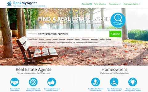 Screenshot of Home Page rankmyagent.com - RankMyAgent.com » Rate, Review and Connect with the most Reputable Real Estate Agents in your Neighbourhood | RankMyAgent.com - captured Sept. 22, 2014