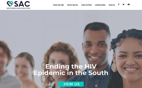 Screenshot of Home Page southernaidscoalition.org - Southern AIDS Coalition – Nonprofit Organization - captured Nov. 7, 2017