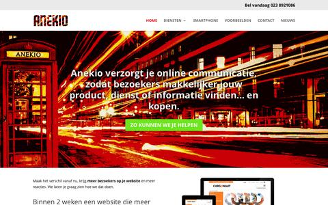 Screenshot of Home Page anekio.nl - Website laten maken in Hoofddorp Haarlemmermeer Webdesign - captured July 23, 2016