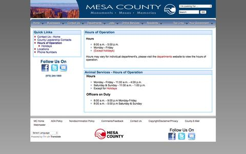 Screenshot of Hours Page mesacounty.us - Hours of Operation - Mesa County, Colorado - captured Oct. 18, 2017