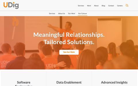 Screenshot of Home Page udig.com - UDig | Meaningful Relationships.Tailored Solutions. - captured June 20, 2019