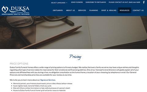 Screenshot of Pricing Page newingtonmemorial.com - Duksa Family Funeral Home | Newington & New Britain, CT - captured June 29, 2018