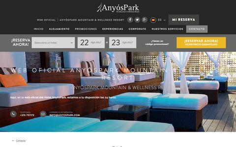 Screenshot of FAQ Page anyospark.com - Contacto AnyósPark Mountain & Wellness Resort, Web Oficial - captured Aug. 22, 2017