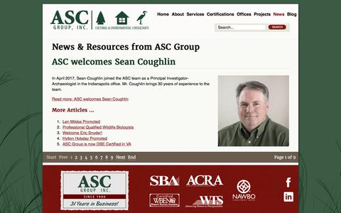 Screenshot of Press Page ascgroup.net - News & Resources from ASC Group - captured Oct. 7, 2017