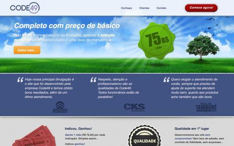 Screenshot of Home Page code49.net - Code49 | Sistemas e sites para imobiliárias e corretores de imóveis | Software de gestão para imobiliária - captured Sept. 30, 2014