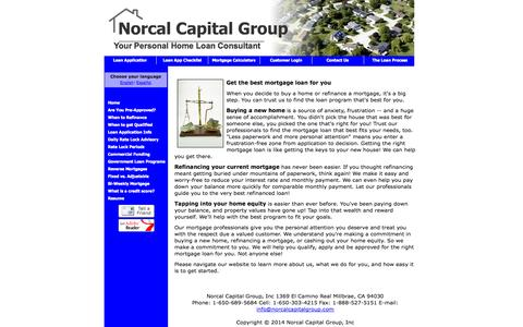 Screenshot of Home Page norcalcapitalgroup.com - CA mortgages : CA mortgage rates and home loans - captured Oct. 7, 2014