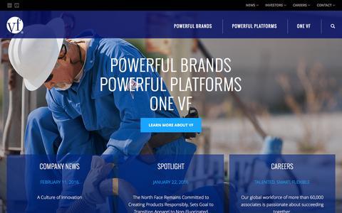Screenshot of Home Page vfc.com - VF Corporation (VFC) - captured Feb. 15, 2016