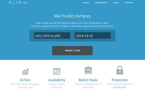 Screenshot of Home Page getflyr.com - FLYR - Travel Ahead. - captured Sept. 11, 2014