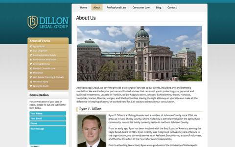 Screenshot of About Page dillonlegalgroup.com - Johnson County Lawyers | Dillon Legal Group - captured Oct. 5, 2014