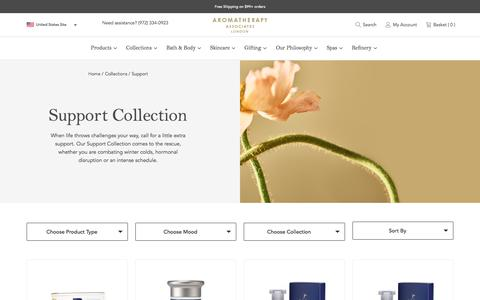 Screenshot of Support Page aromatherapyassociates.com - Support Bath & Body Collection by Aromatherapy Associates - captured July 7, 2019