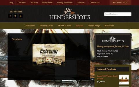 Screenshot of Services Page hendershots.net - Services - Hendershot's Sporting Goods, Inc. - captured Jan. 28, 2016