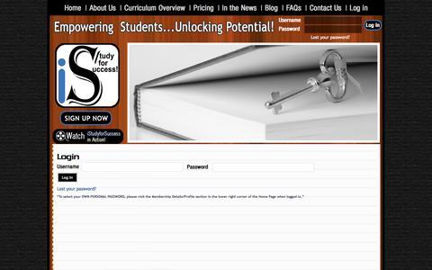 Screenshot of Login Page istudyforsuccess.com - Login - iStudyforSuccess, LLC        :       iStudyforSuccess, LLC - captured Oct. 6, 2014