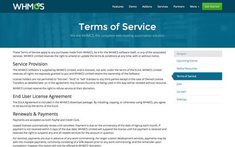 Screenshot of Terms Page whmcs.com - Terms of Service | WHMCS - captured Jan. 13, 2016