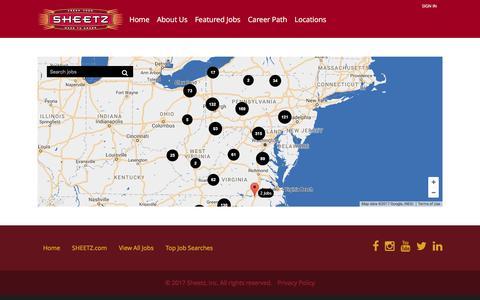 Screenshot of Locations Page sheetz.com - Locations - Jobs at Sheetz - captured Jan. 14, 2017