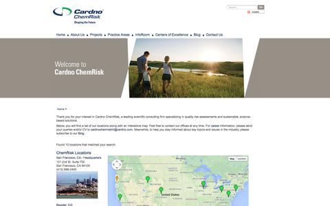 Screenshot of Contact Page Locations Page cardnochemrisk.com - Contact Us - captured Oct. 22, 2014
