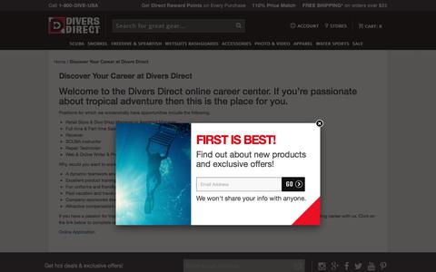 Screenshot of Jobs Page diversdirect.com - Welcome To The Divers Direct Online Career Center. Powered by GearUp Experts! Discover Your Career At Divers Direct. - captured June 4, 2017