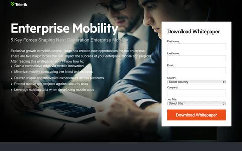 Screenshot of Landing Page telerik.com - Enterprise Mobility - captured Oct. 27, 2014
