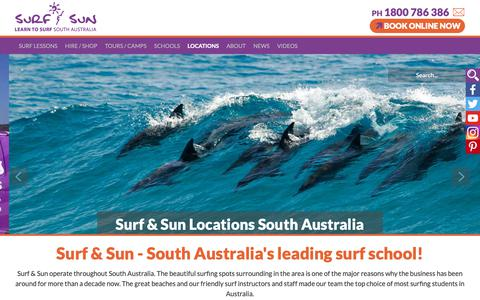 Screenshot of Locations Page surfandsun.com.au - Learn to Surf South Australia from the Number 1 Surf School! - Surf & Sun - captured Oct. 18, 2018