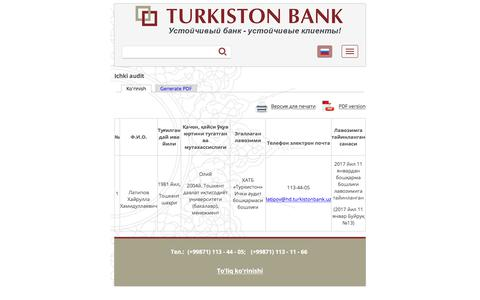 Ichki audit | Turkiston Bank