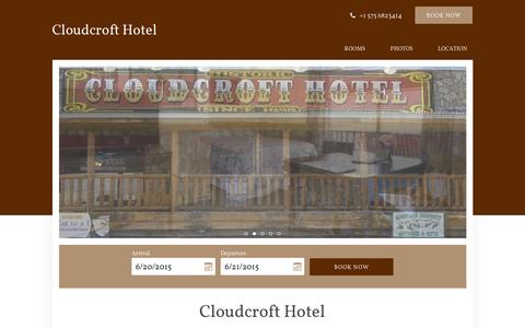 Screenshot of Home Page cloudcrofthotel.com - Cloudcroft Hotel - Cloudcroft - United States of America - captured June 20, 2015