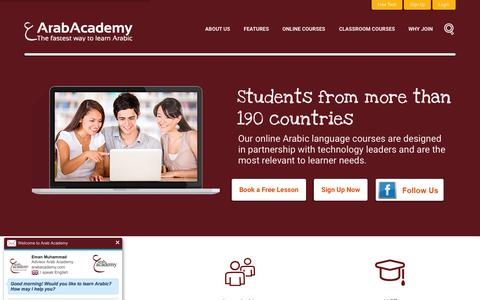 Screenshot of Home Page arabacademy.com - Learn Arabic Online With Simple And Powerful Courses | Arab Academy - captured Oct. 1, 2015