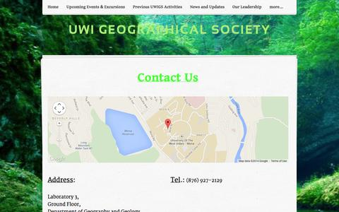 Screenshot of Contact Page weebly.com - Contact Us - UWI GEOGRAPHICAL SOCIETY - captured Sept. 17, 2014
