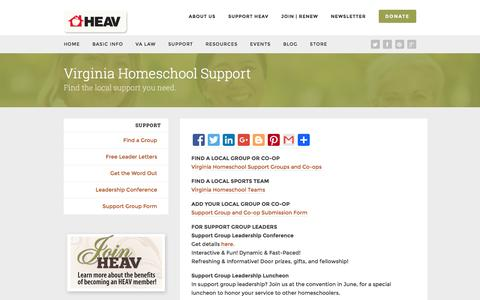 Screenshot of Support Page heav.org - Support | Home Educators Association of Virginia - captured Feb. 10, 2016
