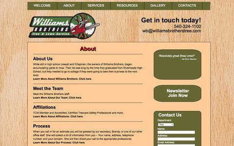 Screenshot of About Page williamsbrotherstree.com - About - Williams Brothers : Williams Brothers - captured Oct. 26, 2014