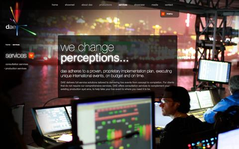 Screenshot of Services Page daeglobal.com - services   dae - captured Oct. 6, 2014