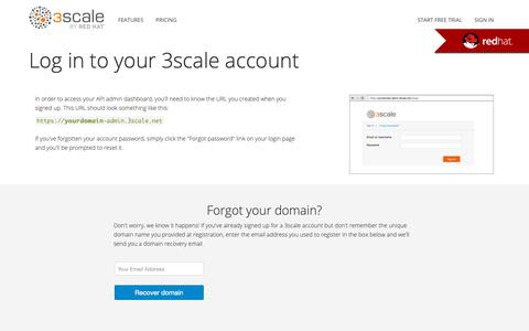 Screenshot of Login Page 3scale.net - 3scale - captured March 13, 2019